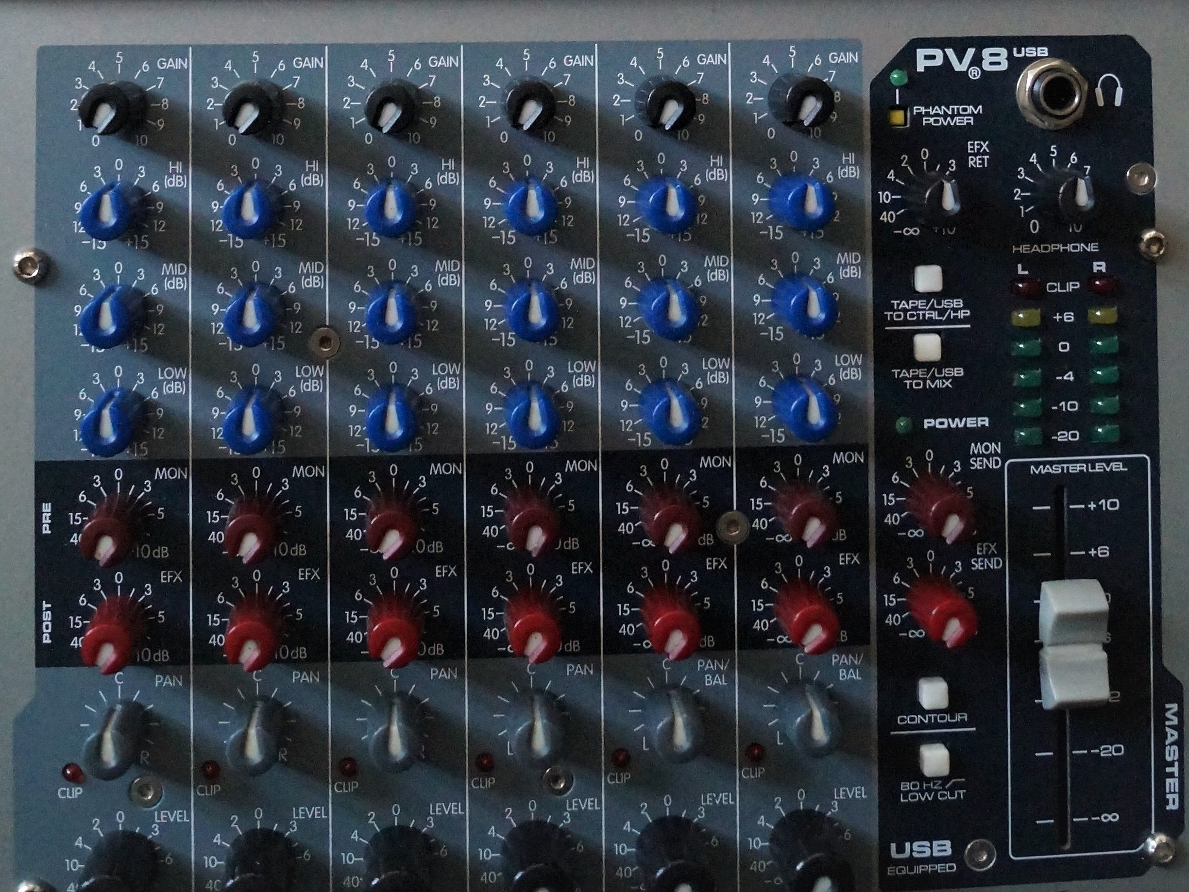 Peavey PV8 USB mixing console/stereo USB Digital Audio interface.